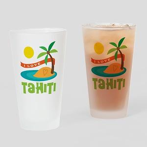 I Love Tahiti Drinking Glass