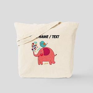 Custom Red Elephant And Bird Tote Bag