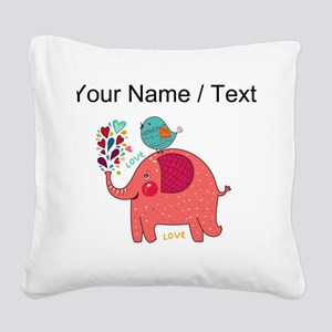 Custom Red Elephant And Bird Square Canvas Pillow