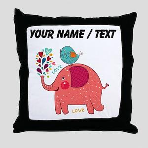 Custom Red Elephant And Bird Throw Pillow