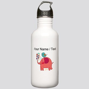 Custom Red Elephant And Bird Water Bottle