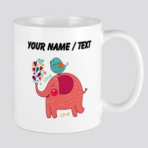 Custom Red Elephant And Bird Mugs