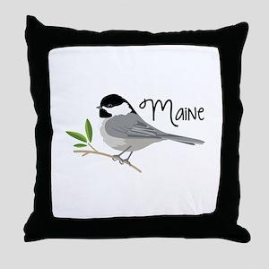 maiNe Chickadee Throw Pillow