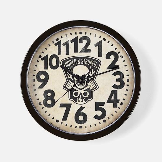 Skull And Pistons Biker Retro Wall Clock