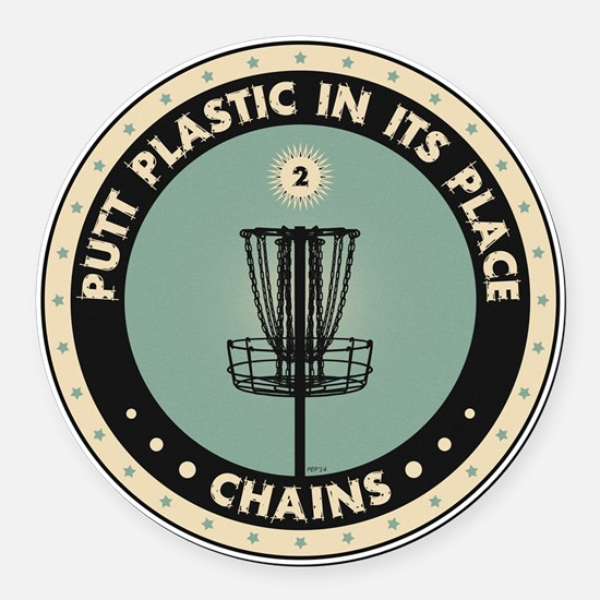 Putt Plastic In Its Place Round Car Magnet