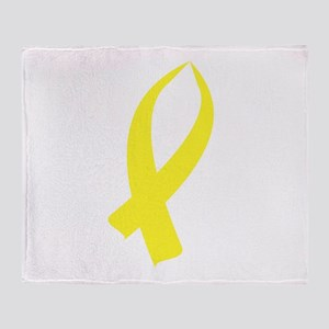 Awareness Ribbon (Yellow) Throw Blanket