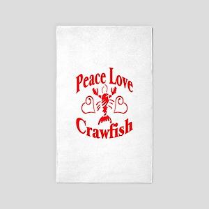 PeaceLoveCrawfish1tran 3'x5' Area Rug