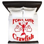 PeaceLoveCrawfish1tran King Duvet