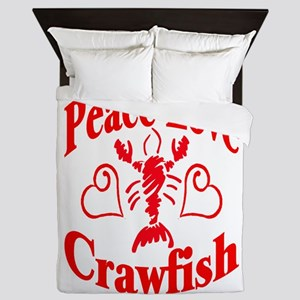 PeaceLoveCrawfish1tran Queen Duvet