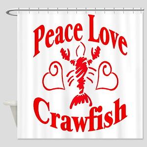 PeaceLoveCrawfish1tran Shower Curtain