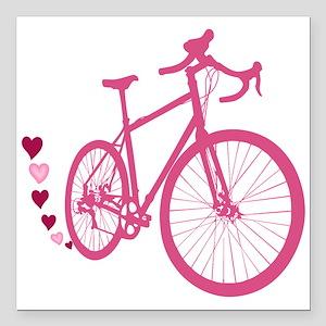 "Bike Love Square Car Magnet 3"" x 3"""
