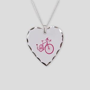 Bike Love Necklace Heart Charm