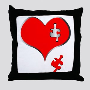 Heart missing a puzzle piece. Throw Pillow