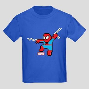 8 Bit Spiderman Kids Dark T-Shirt