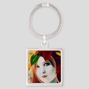 Lady Leaf Square Keychain