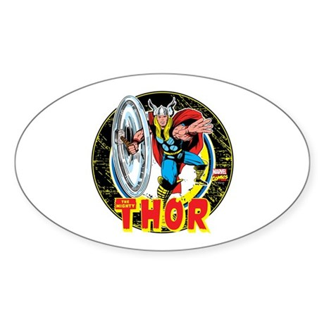 The Mighty Thor Hammer Sticker (Oval)