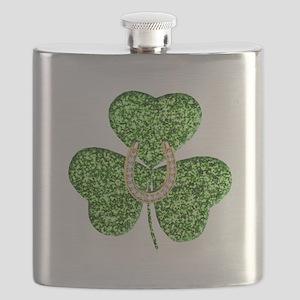 Glitter Shamrock And Horseshoe Flask
