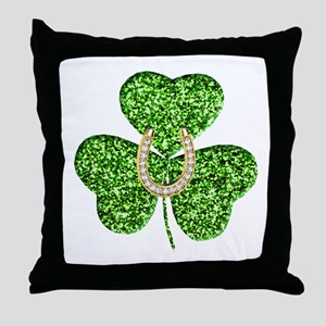Glitter Shamrock And Horseshoe Throw Pillow