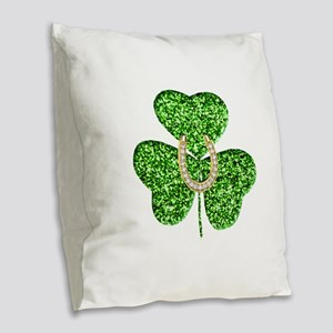 Glitter Shamrock And Horseshoe Burlap Throw Pillow