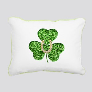 Glitter Shamrock And Horseshoe Rectangular Canvas