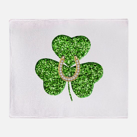 Glitter Shamrock And Horseshoe Throw Blanket