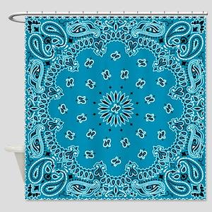 Shower Curtain 4995 6499 Turquoise Paisley Bandana Scarf Western Fabric Pri