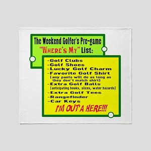 Golfers Wheres My List Throw Blanket