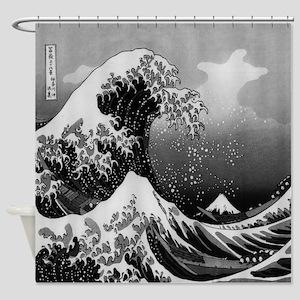 Japanese Wave Shower Curtain