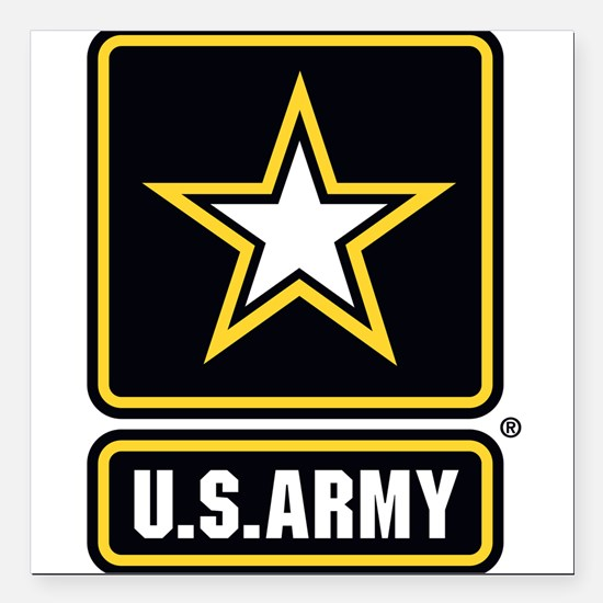 "U.S. Army Gold Star Logo Square Car Magnet 3"" x 3"""