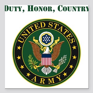 """Duty Honor Country Army Square Car Magnet 3"""" x 3"""""""