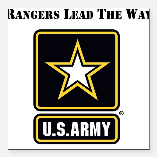 "Army Rangers Lead The Way Square Car Magnet 3"" x 3"