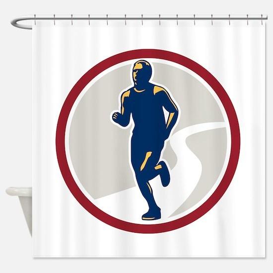 Marathon Runner Running Circle Retro Shower Curtai