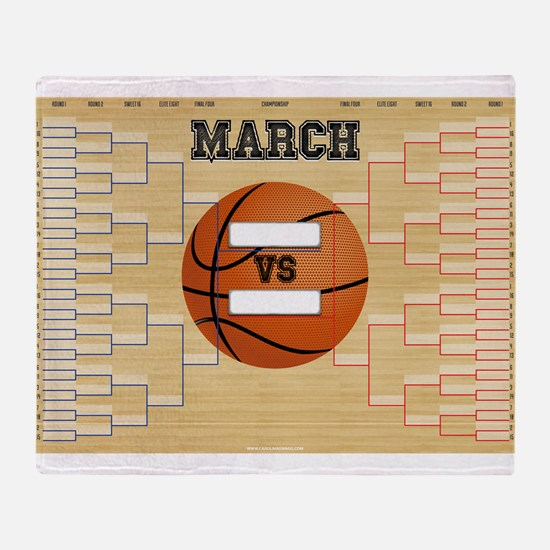 March Basketball Bracket Madness Cha Throw Blanket