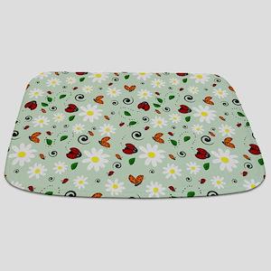 Ladybugs Daisy Garden Green Bathmat