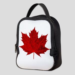 Vibrant Red Maple Leaf Neoprene Lunch Bag