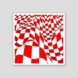 """Warped Checker Square Sticker 3"""" x 3"""""""