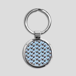 Pugs on Pastel Blue Round Keychain