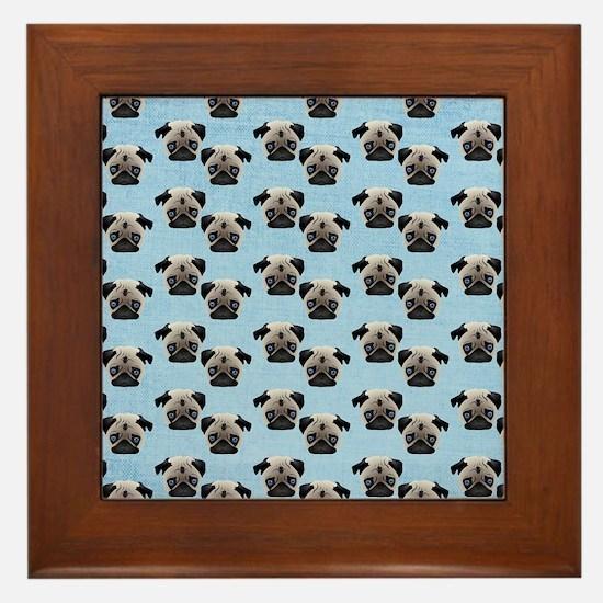 Pugs on Pastel Blue Framed Tile