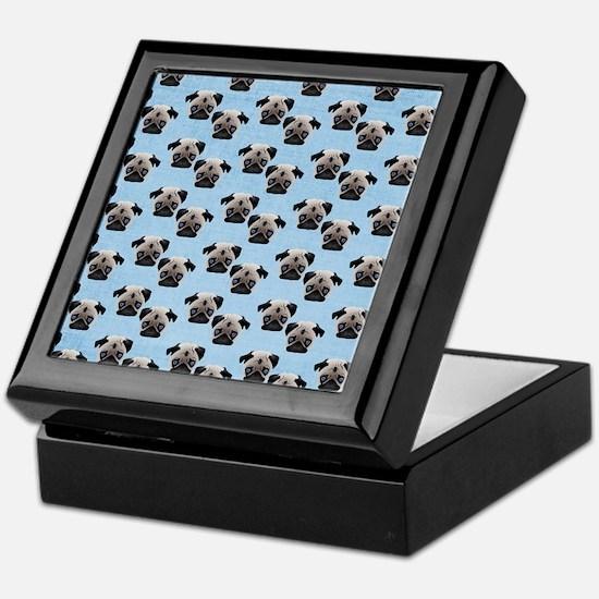 Pugs on Pastel Blue Keepsake Box