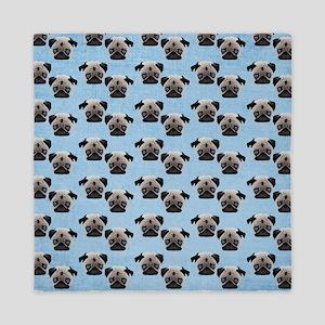 Pugs on Pastel Blue Queen Duvet