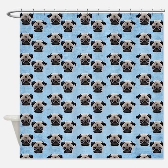 Pugs on Pastel Blue Shower Curtain