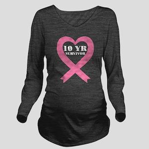 Breast Cancer 10 Yea Long Sleeve Maternity T-Shirt