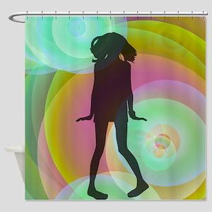 retro dancing girl green Shower Curtain