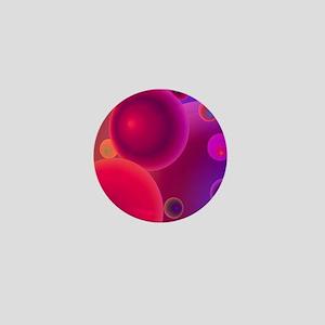 retro 70s bubbles pink neon Mini Button