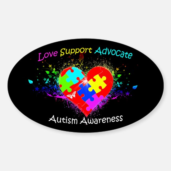Autism Puzzle on Heart Sticker (Oval)