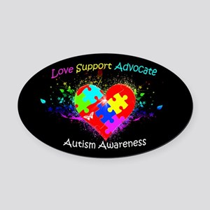 Autism Puzzle on Heart Oval Car Magnet
