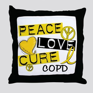 Peace Love Cure COPD Throw Pillow