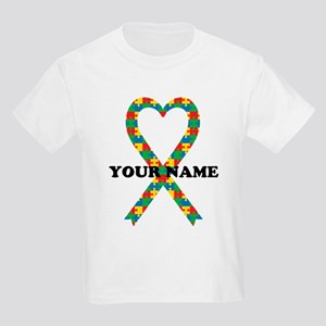 Personalized Autism Ribbon Kids Light T-Shirt