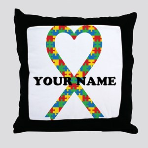 Personalized Autism Ribbon Throw Pillow