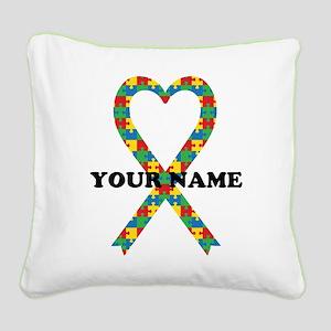 Personalized Autism Ribbon Square Canvas Pillow